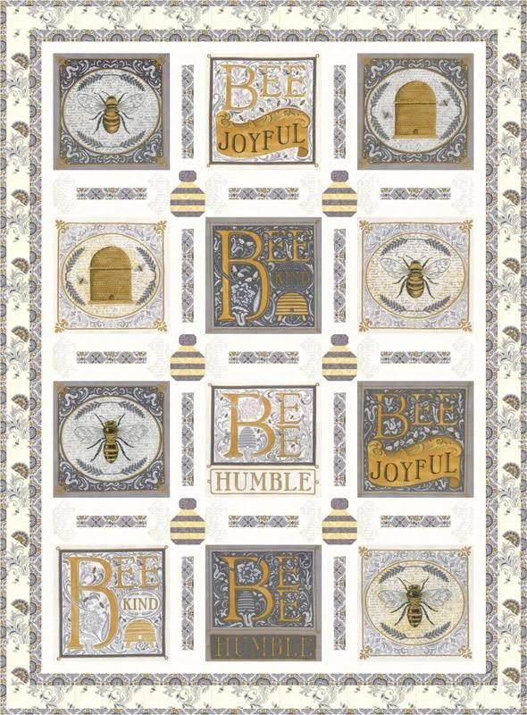 Bee Joyful Kit Lap Quilt Gray & Gold by Deb Strain