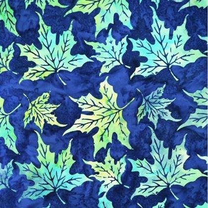 Blue Bounty Batik Maple Green & Blue Leaves on Navy