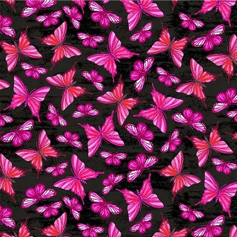Mon Ami Whisper Black with Pink Butterflies
