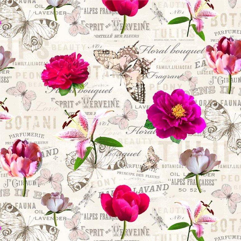 Mon Ami Notebook Cream Floral Butterflies