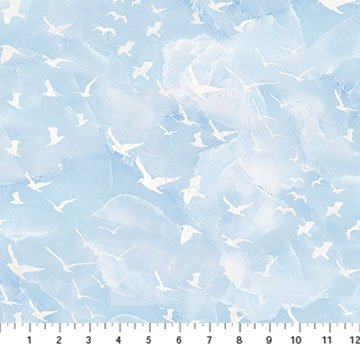 Swept Away Flying Sea Gulls Blue