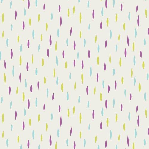 Dreamin Vintage Flat Dashes Cream with Purple Aqua & Yellow