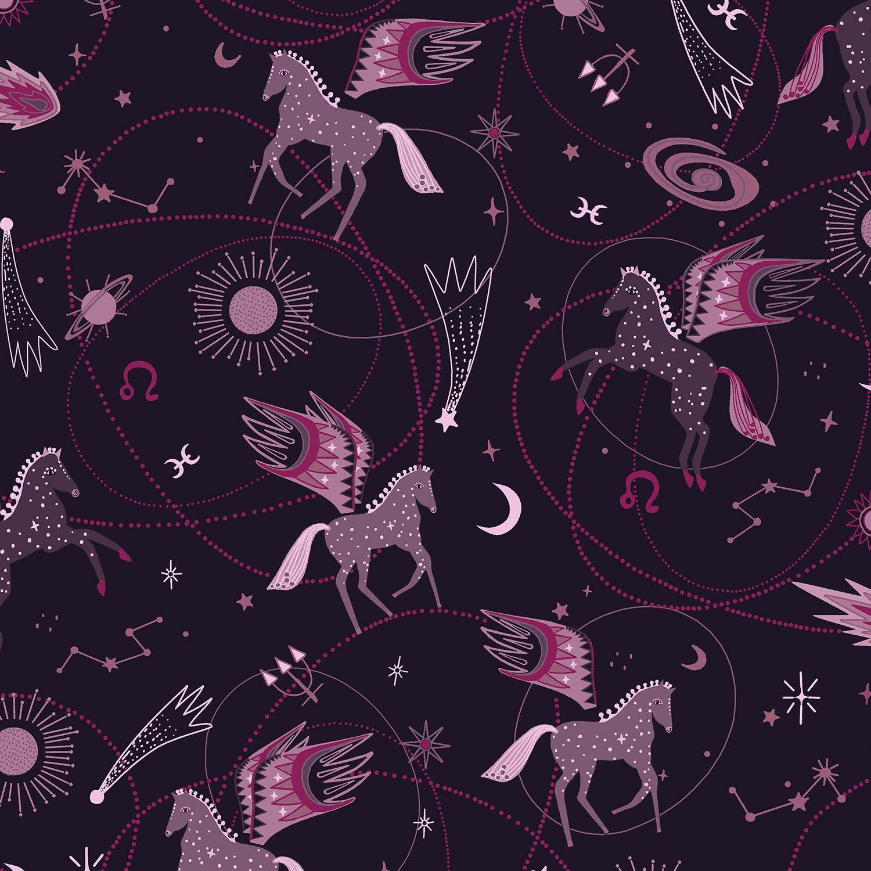 Mystical Astro Pegasus on Plum