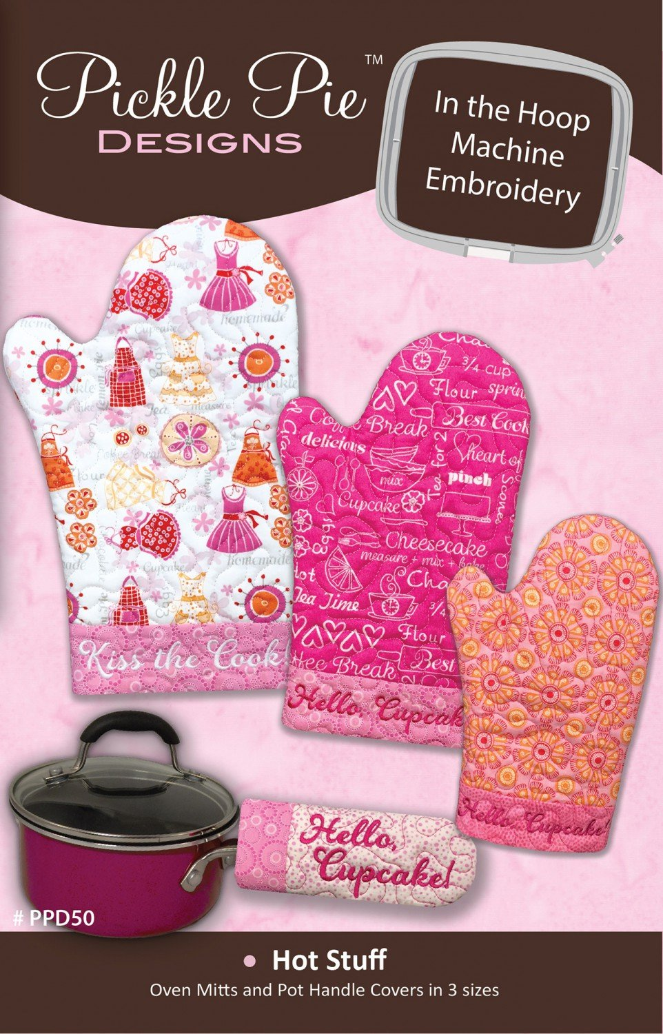 Hot Stuff Oven Mitts CD Pickle Pie In The Hoop Embroidery