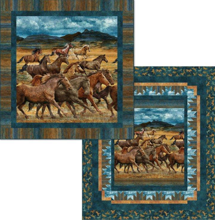 Wild Herd Wild Horses Quilt Kit 84x 96