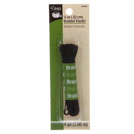 Black Braided Elastic 1/8 x 4yds