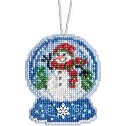 Snowman Snow Globe (14 Count) Mill Hill Counted Cross Stitch Ornament Kit 3.25X2.5