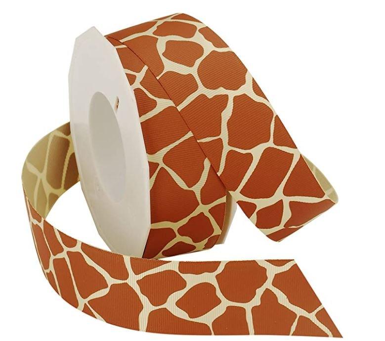 1.5 Giraffe Print/ Natural - Grosgrain Ribbon
