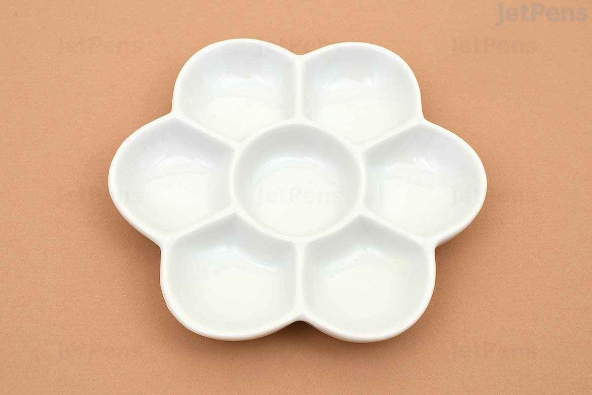Flower 7 Well Porcelain Palette