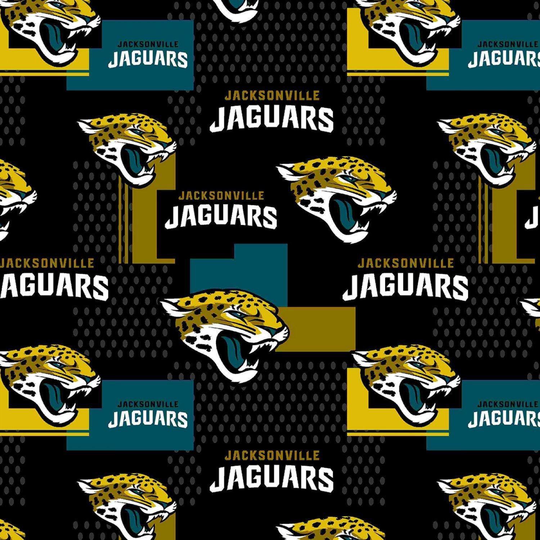 NFL - Jacksonville Jaguars Logos on Black - Extra Wide 58 inch (14728 D)
