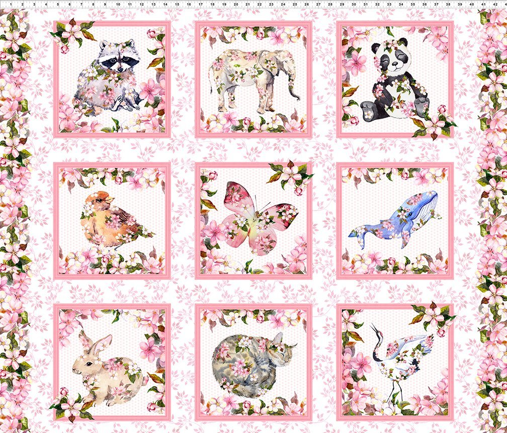 Pretty In Pink - Woodland Critters Blocks Panel (44 x 36)