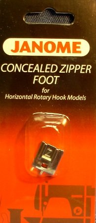 Janome Cncealed Zipper Foot for horizontal rotary hook models
