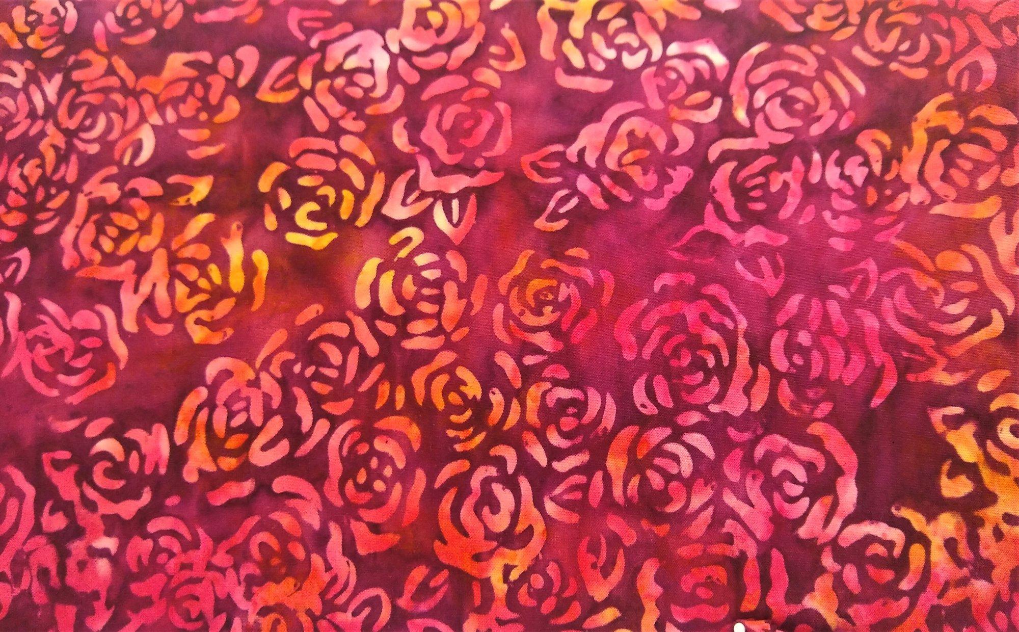Roses Allover - Raspberry Batik - CD-03347-001A