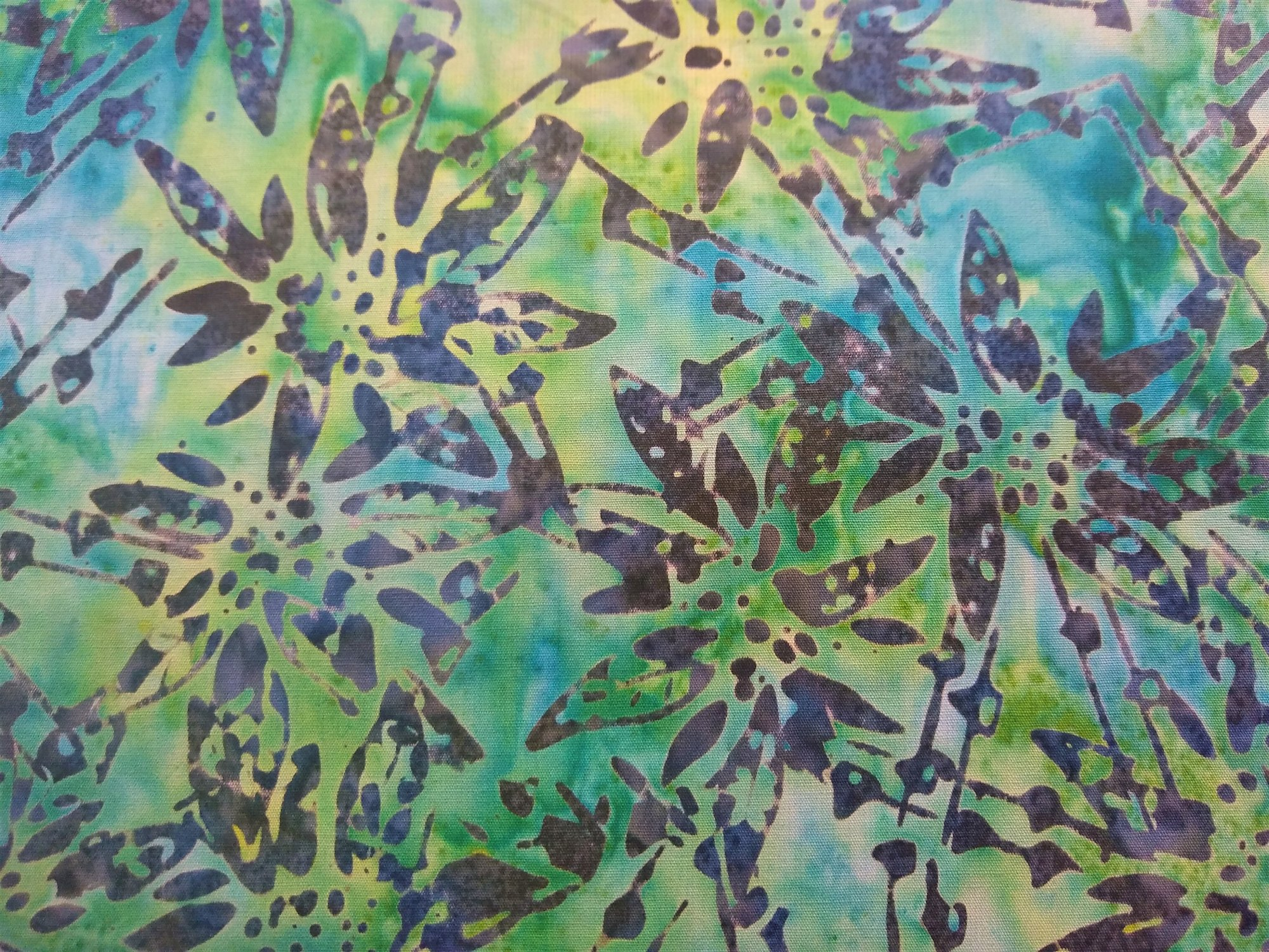 Blue & Green Poinsettia Batik