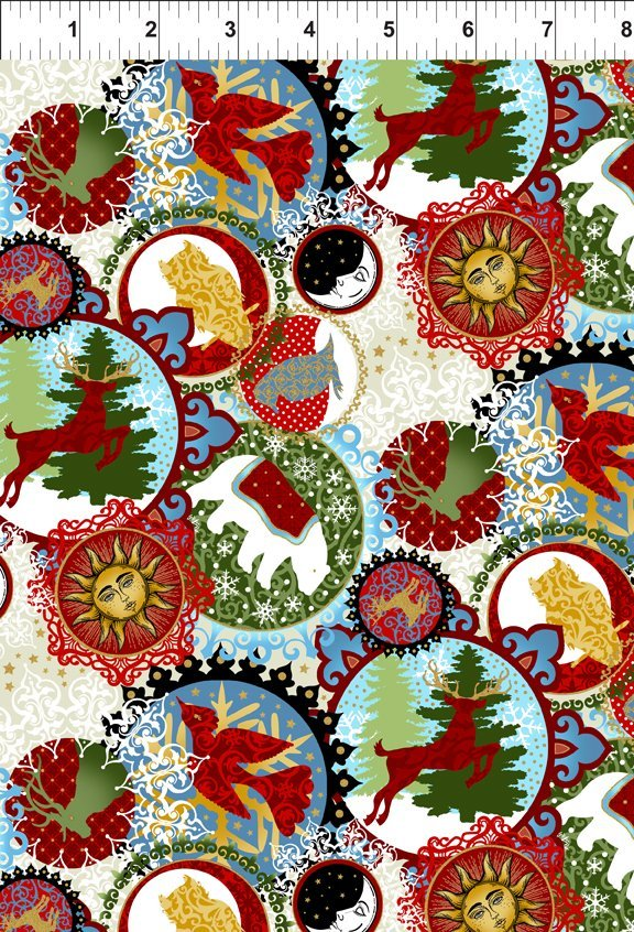 A Celestial Winter Small Collage Red