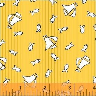 Bon Voyage - Sailboats & fish on yellow
