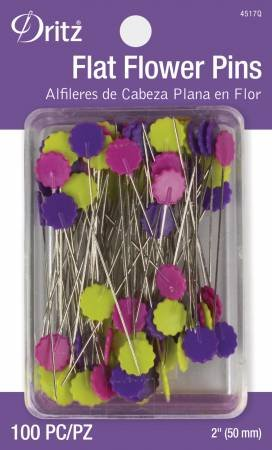 Flat Flower Pins Assorted 2in 100ct
