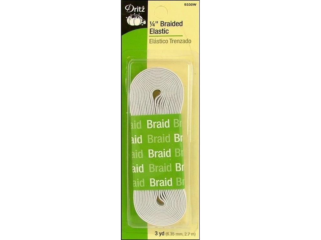 White Braided Elastic 1/4in x 3yds (9330W)