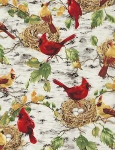 Summer Cardinals on Birch Back Ground - Dona Gelsinger for Timeless Treasures