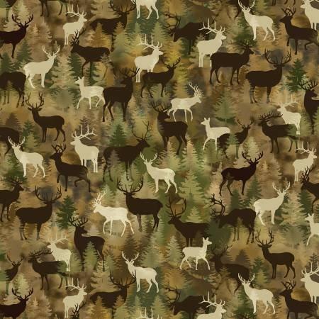 Lodge Life by Greta Lynn for Kanvas Studios - Moss Brown Camo Deer-C8974-48
