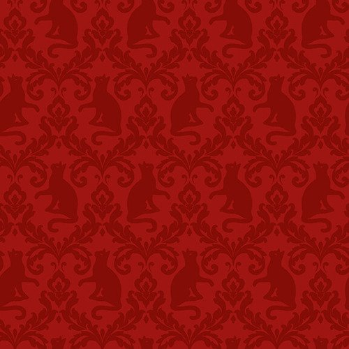 Fireside Kittens - Red Cat Damask by Robert Giordano / Henry Glass