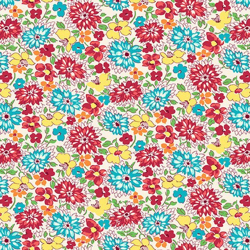 Nana Mae IV - Multicolored Wildflowers by Henry Glass & Co. (9296-81 Red/Aqua)