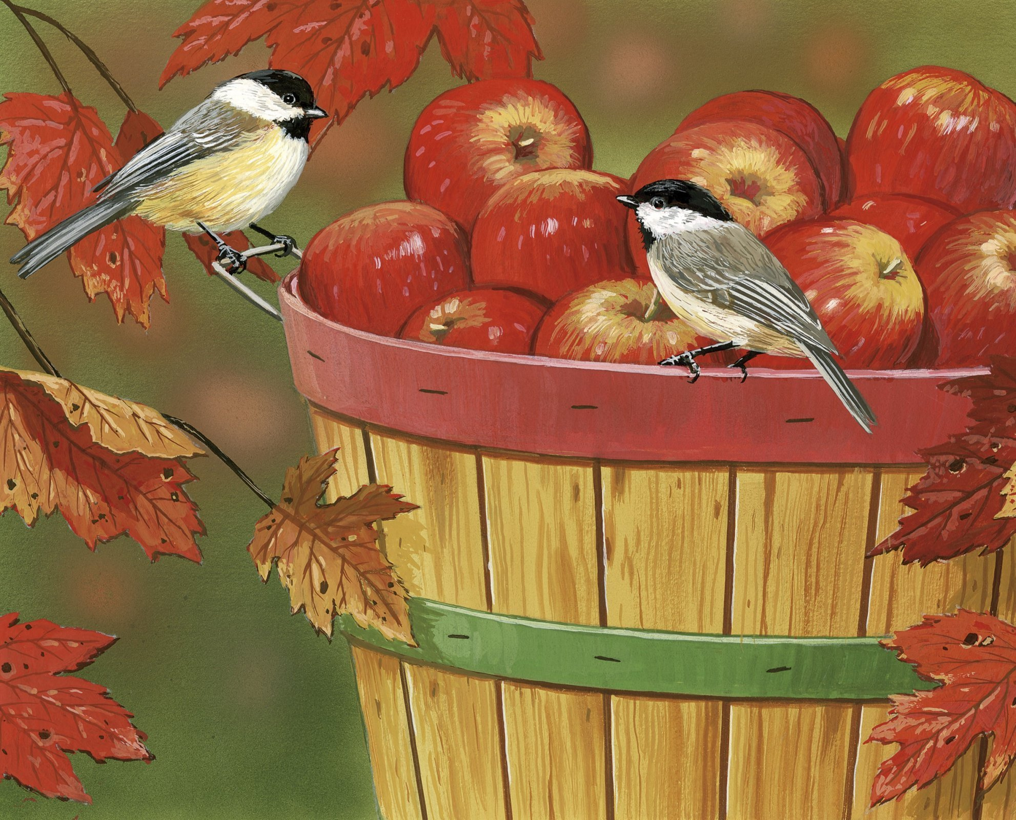 Apples with Chickadees Panel by William Vanderdasson (35 x 44) / David Textiles