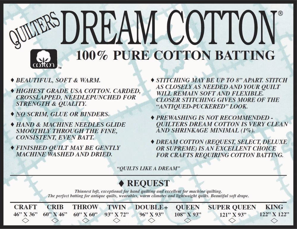 Quilters Dream 100% Natural Cotton Batting (N3 Request Thin-Loft)