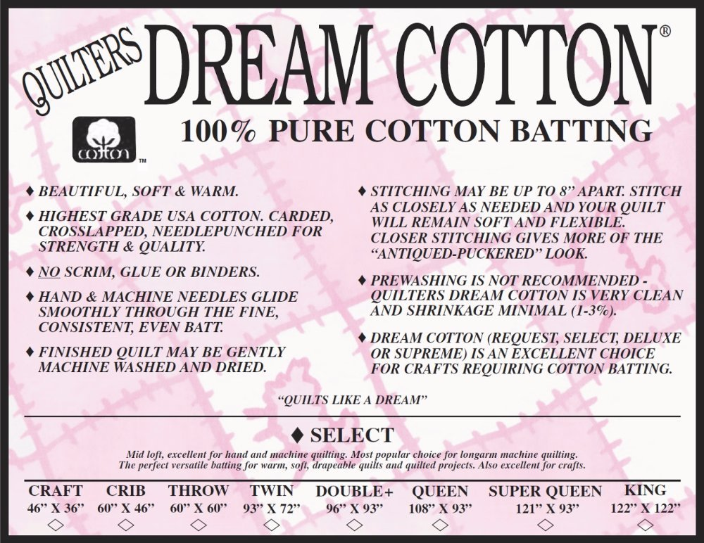 Quilters Dream 100% White Cotton Batting (W4 Select Mid-Loft)