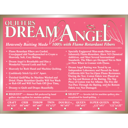 Quilters Dream Angel (A4 Select Mid Loft) Flame-Resistant Batting