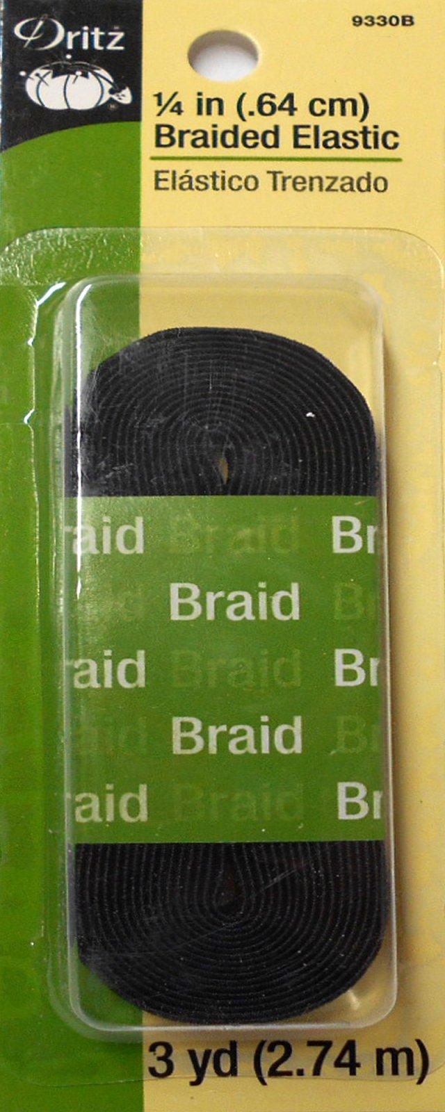 Black Braided Elastic 1/4in x 3yds (9330B)