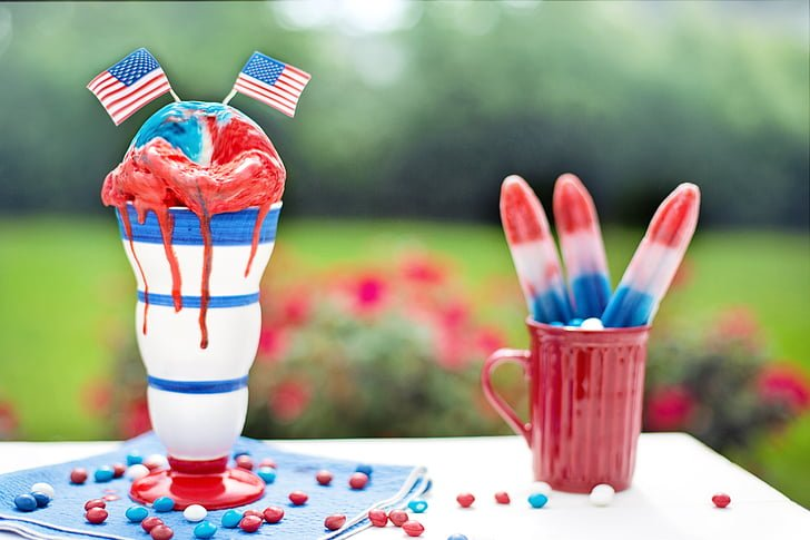 4th of July Red, White, & Blue Ice cream on a picnic table