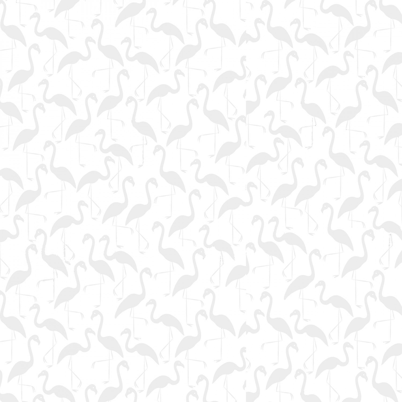 White on White - Flamingos (C7095) / Timeless Treasures