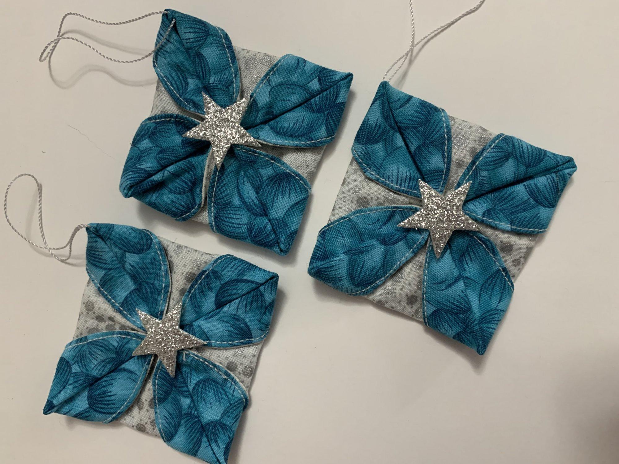 Handmade Fabric Christmas Ornaments-Turq-3 pack