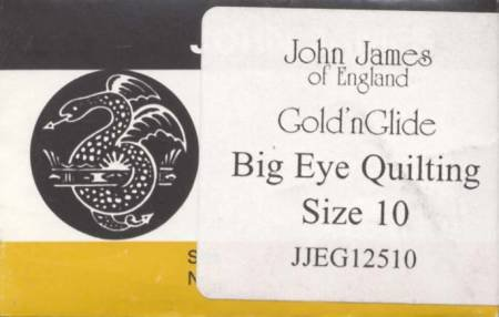 John James Gold'N Glide Big Eye Between / Quilting Needles Size 10 10ct