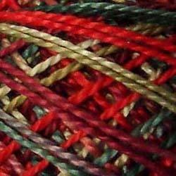 Valdani Perlé Cotton - 8wt - Multi-colored-57 - Summer Blooms - reds, white, deep greens
