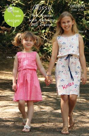 Missy The Dress with matching Doll Dresses - Pattern for girls
