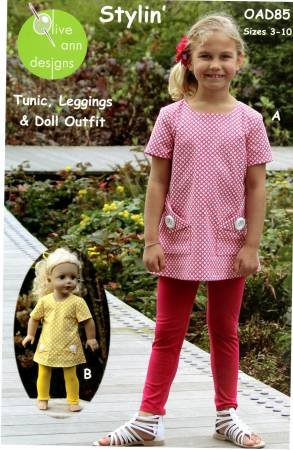 Stylin Tunic, Leggins & 18in Doll Outfit pattern by Ann Blair