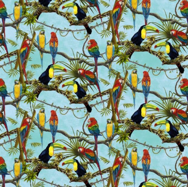 Birds of Paradise - Macaw Parrots & Toucans tossed on Sky Blue by Lisa Sparling / Henry Glass