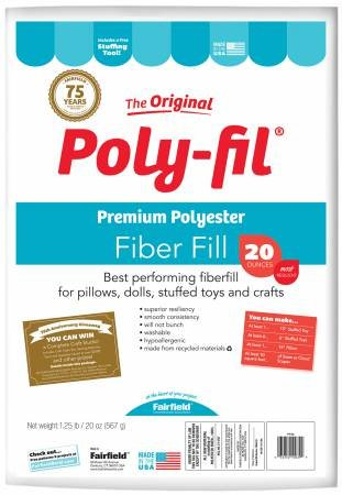 Poly-Fil Premium Polyester Stuffing for Pillows and Stuffed Animals (20oz)