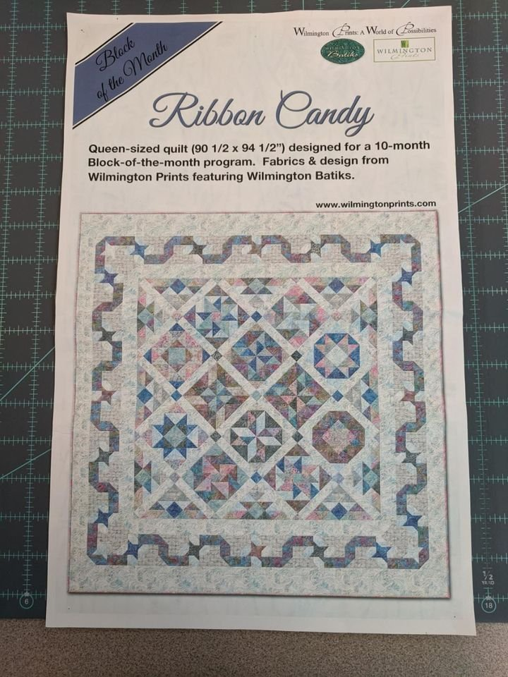 Ribbon Candy Queen Quilt Kit with Tote Bag + USB Stick (Block of the month - Full 10-month kit)