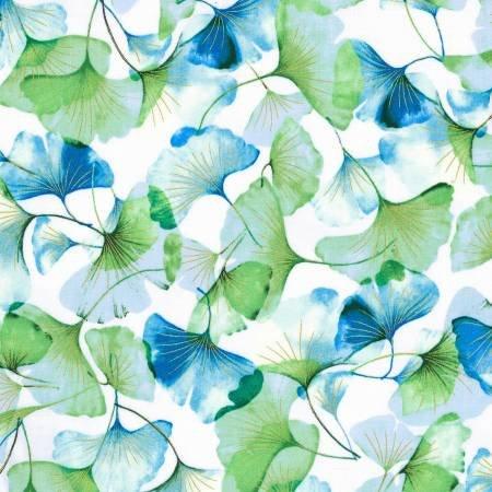 Graceful Garden Metallic - Spearmint/Gold Floral / Hoffman Fabrics