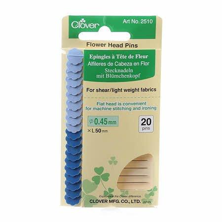 Flower Head Fine Pin Size 32 - 2in (20ct.) Navy & Light Blue heads