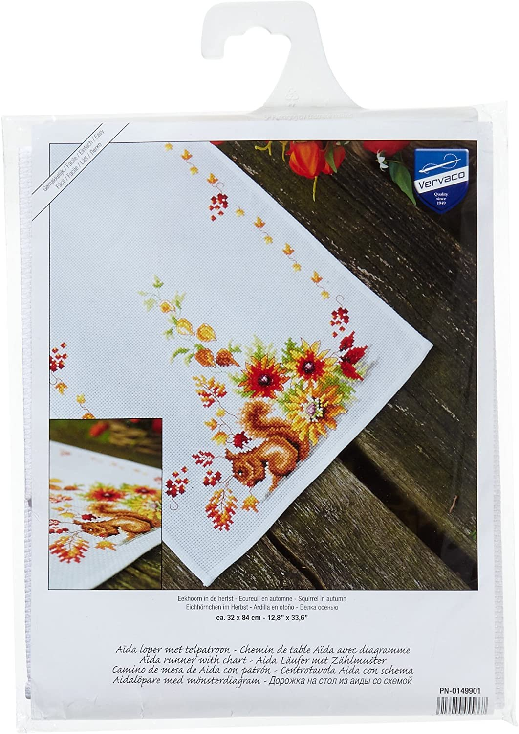 Squirrel In Autumn - Counted Cross Stitch Table Runner Kit