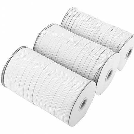 1/4 Flat Elastic - Medium Stretch WHITE (200 Yards - Full Roll)
