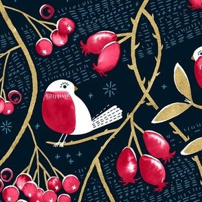 Birds on Berry Branches - MIDNIGHT/RED  / Marketa Stengl by Fabric Merchants