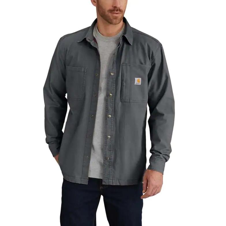 102851 029 Carhartt Canvas Fleece Lined Shirt Jac in Shadow
