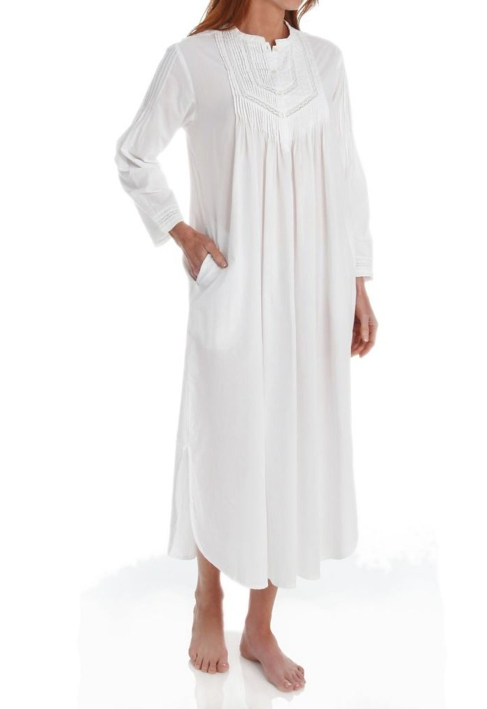 Cotton Long Sleeve Nightgown in White By La Cera 1060G