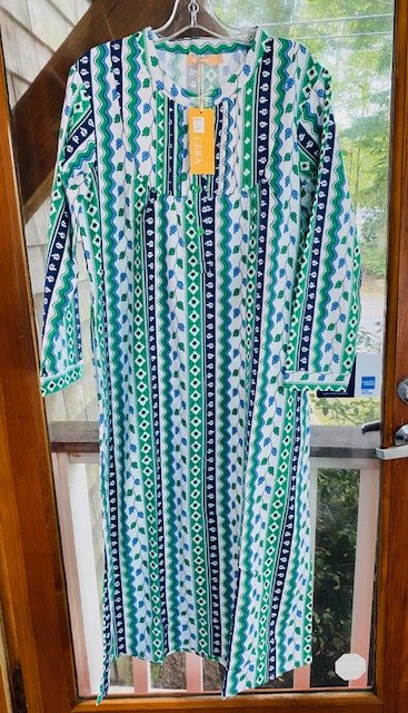 W's Flannel Pleat Nightgown in Blue/Green by La Cera 13205