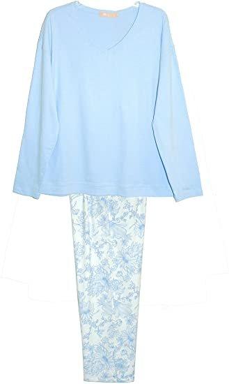 W's Cotton & Flannel Pajama Set in Blue by La Cera 1521